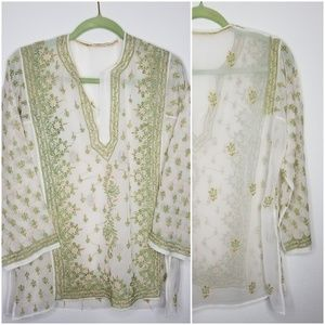 Tops - Authentic Hand Embroidered Sheer Tunic from India